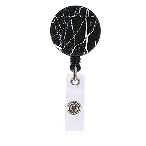 Black Marble Badge Reel, Fashion Retractable ID Card Badge Holder with Alligator Clip, Name Decorative Badge Reel Clip on Card Holders