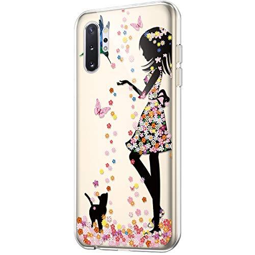 Schutzhülle für Galaxy Note 10 Plus, kristallklar, Kunst-Design, weiches TPU, ultradünn, transparent, flexibles Gummi-Gel, TPU-Schutzhülle für Galaxy Note 10 Plus, Silikonhülle, Blumen-Mädchen, Katze