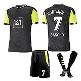 DHRBK Camiseta de fútbol Retro para Hombre Sancho # 7 Uniforme de fútbol Equipo de Club Fans Uniforme de fútbol para niños con calcetín de fútbol Adultos Camiseta de fútbol para niños