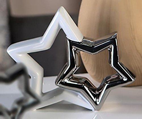 Casablanca Shaky Étoile décorative Blanc/argenté 22 cm