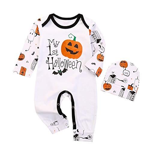Mono para Bebé Recién Nacido Manga Larga para Niños y Niñas Pantalones A Rayas Calabaza Conjuntos Halloween Mameluco con Sombrero