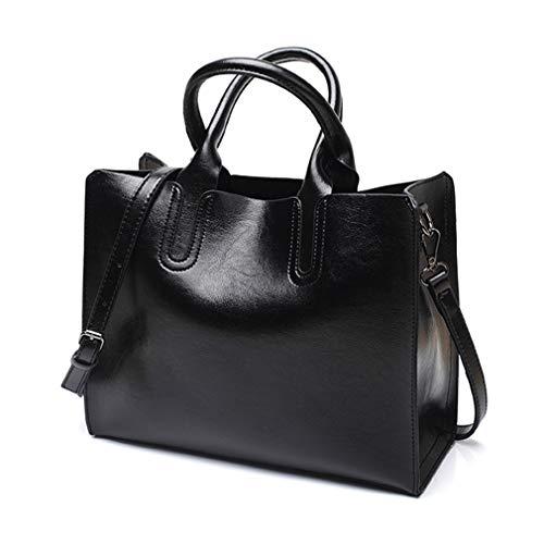 Pahajim Damen-Handtasche mit Tragegriff und Schulterriemen, Ölleder, Handtasche für Damen und Mädchen