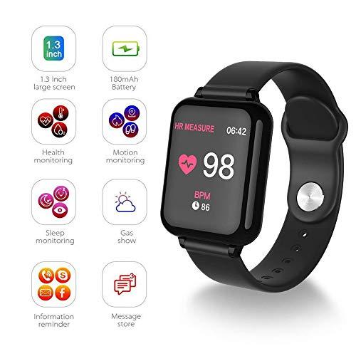 GSU Fitness Smart Watch IP67 Wasserdicht, Herzfrequenz und Blutdruck Sport Schlafüberwachung Watch Tracker mit Vibrationserinnerungsfunktion Kompatibel,Schwarz