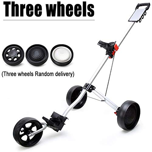 3 Roues Push Pull Golf Cart, Chariot de Golf Chariot avec Frein Voiturette 3 Roues Push Pull Golf Panier Easy Carry et Fold