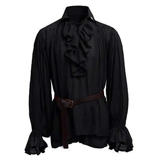 GRACEART Hombres Medieval Nórdico Camisas con Cinturón (X-Small) (Medium, Negro)