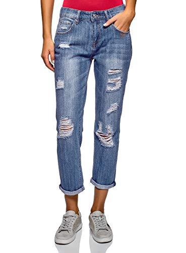 oodji Ultra Donna Jeans Boyfriend Effetto Invecchiato, Blu, 27W / 32L (IT 42 / EU 38 / S)