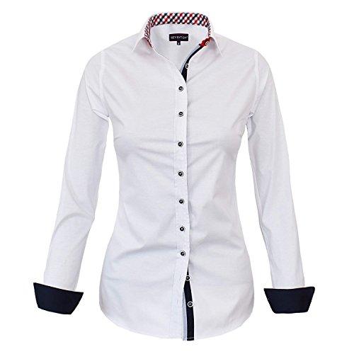 HEVENTON Bluse Damen Langarm in Weiß Hemdbluse - Größe 36 bis 50 - elegant und hochwertig 1178 Farbe Weiß, Größe 44