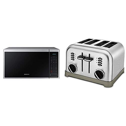 Samsung MS14K6000AS 1.4 cu. ft. Countertop Microwave Oven with Sensor and Ceramic Enamel Interior, Stainless Steel & Cuisinart CPT-180P1 Metal Classic 4-Slice toaster, Brushed Stainless