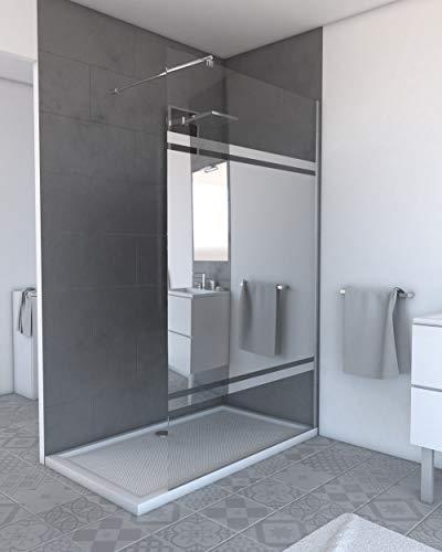 MARWELL Walk IN 120 x 200 cm PLANO begehbare Duschwand mit barrierefreiem Einstieg, 8 mm starkes Einscheibensicherheitsglas mit verspiegeltem Sichtschutzstreifen, verchromtes Aluminiumprofil, chrom