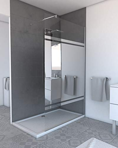 Aurlane Pack paroi de Douche Miroir 140cm Profile Chrome - DIM: 140x200cm - Freedom 2 Mirror 140 + Barre de Fixation Freedom 2 Telescopic