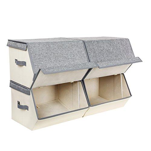 SONGMICS 4er Set Aufbewahrungsboxen mit magnetischem Klappdeckel, stapelbare Stoffboxen mit Metallrahmen und seitlichen Griffen, für Accessoires, Spielzeug, Kleidung RLB04GE