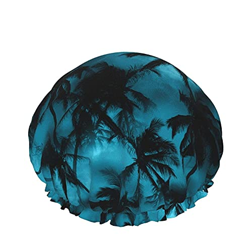 Double Layers Shower Cap,Palm Trees Summer Background Bright Color Juicy And Fresh,Reusable Waterproof Elastic Bath Caps for All Hair Lengths-style10-1pcs
