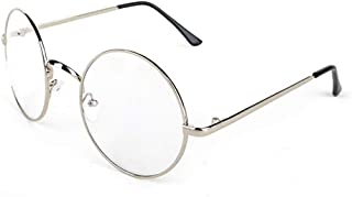 Lovef Large Oversized Metal Frame Clear Lens Round Circle Vintage Eye Glasses 5.4 * 2inch