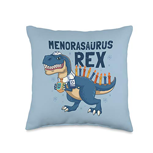 Holiday Hanukkah Gifts Co. Hanukkah T Menorasaurus Rex Dinosaur Funny Menora Pun Throw Pillow, 16x16, Multicolor