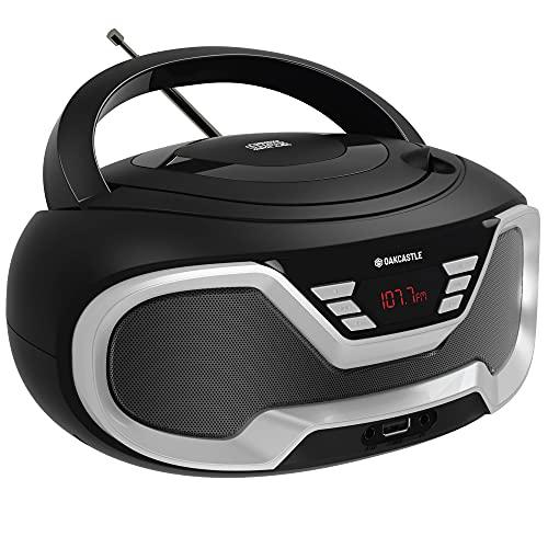 Oakcastle CD200 – Radio stereo portatile con lettore CD, Bluetooth, ingresso AUX da 3,5mm e porta USB, altoparlanti integrati, alimentazione settore/batteria, per adulti e bambini (Nero)