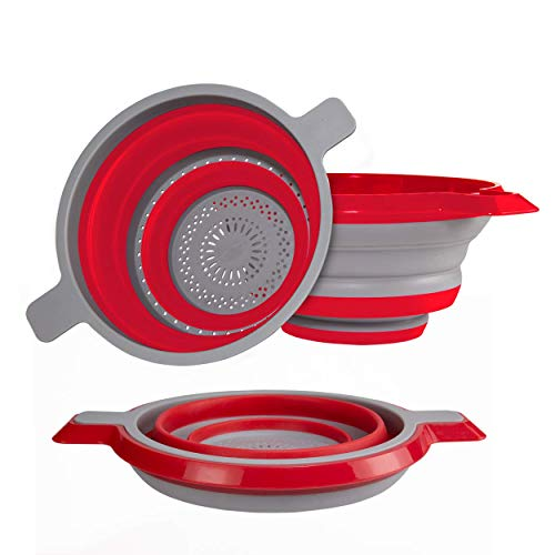 Kitchen Maestro Collapsible Colander and Strainer Set of 2 Red Collanders for Pasta Fruits Vegetables and More - BPA Free and Dishwasher Safe