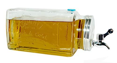 Dynamic24 3L Glas Getränkespender Zapfhahn Dispenser Kühlschrank Saft Wasser Spender