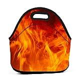 Bolsa de almuerzo portátil de neopreno, diseño de llama de fuego con cremallera, bolsa de transporte para picnic, viajes al aire libre, bolso de mano de moda, para mujeres, hombres, niños y niñas