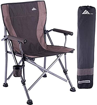 Ablazer Portable Folding Camping Chair for Adults with Carry Bag,Lightweight Quad Lumbar Back Support Ergonomic Heavy Duty Structure Armchair,Padded Fabric Seat,Hard Armrest,Side Cup-Holder,Outdoor