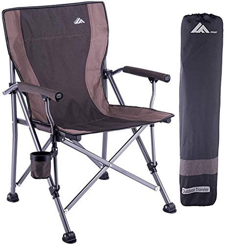 Folding Camping Chair Portable Camp Chair for Adults,Supports 300 lbs, Oversized Heavy Duty Folding Camping Chair, With Cup-Holder,Lightweight Lawn Chair for Outdoor,Travel,Picnic,Hiking,Straight Back
