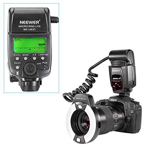 Neewer Flash Macro Ring Light con Luce di Assistenza AF per Canon EOS 5D Mark II EOS 6D EOS 7D EOS 70D EOS EOS 60Da EOS 700D 650D 350D 300D 1000D 1100D Rebel T5i T4i T3i Xti XT SL1 XS T3