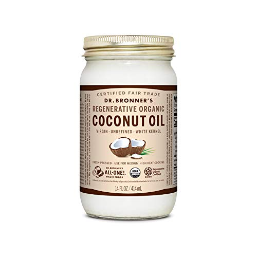 Dr. Bronner's - Regenerative Organic Coconut Oil (White Kernel, 14 Ounce) - Coconut Oil for Cooking,...