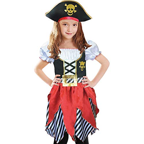 Sincere Party Disfraz de pirata para niñas, princesa bucanera, con sombrero de pirata, talla 5-6 años