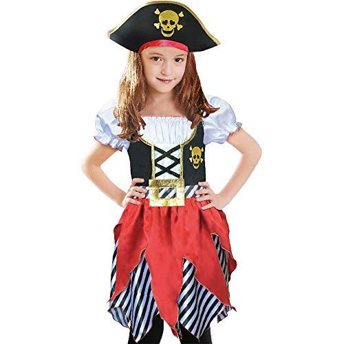 Disfraz de Pirata para niñas, Princesa bucanera, con Sombrero de Pirata 7-8 años