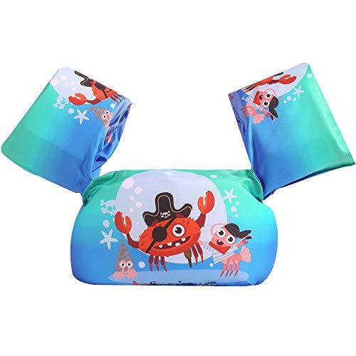 Puoyis Toddler Kids Swim Life Vest, Girls and Boys Swim Vest Swimming Training Life Jacket, Children Swim Vest for Puddle/Beach,Play Like Jumper (D-Crab)
