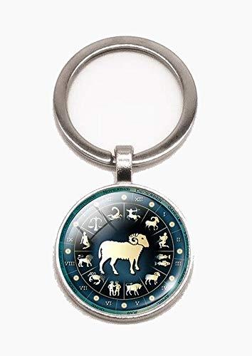 Schlüsselanhänger, Taschenschmuck, Cabochon, Sternzeichen zur Auswahl + Karabinerhaken als Geschenk (Widder)