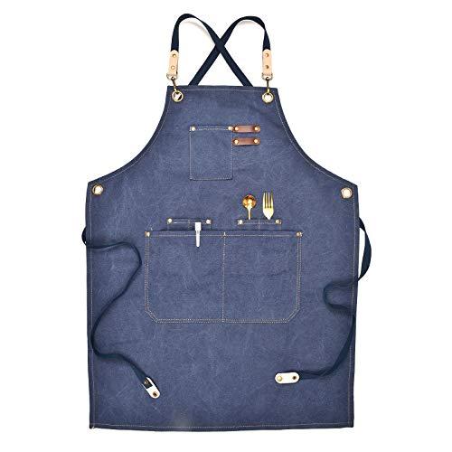 gszfsm001 - Delantal de trabajo de lona multifuncional con bolsillos, apto para carpinteros, talleres, jardineros, peluqueros, chefs, servidores, pintores, tatuajes, etc.