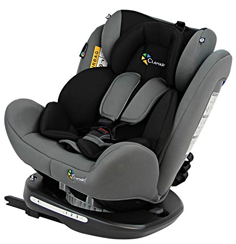 Clamaro \'Ranger 360\' 4in1 Isofix Autokindersitz Gruppe 0+, I, II und III (0-36 kg) 360° drehbar, mitwachsender Baby- und Kinderautositz 0 bis 12 Jahre, verstellbare Kopfstütze und Rückenlehne, silber