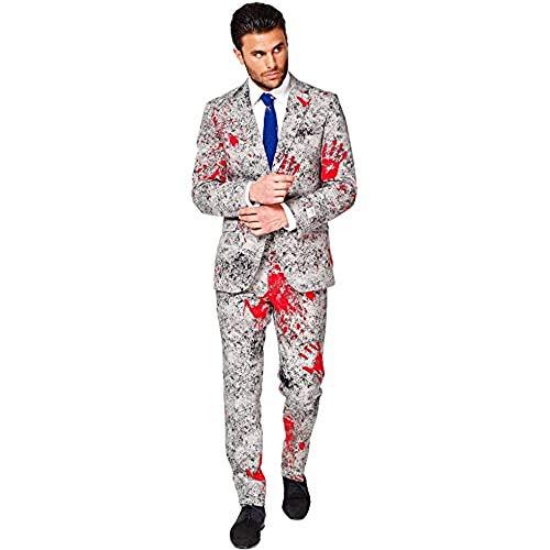 OppoSuits Halloween Suit For Men In Creepy Stylish Print – Zombiac – Full Set: Includes Jacket, Pants and Tie Traje de Hombres, 52