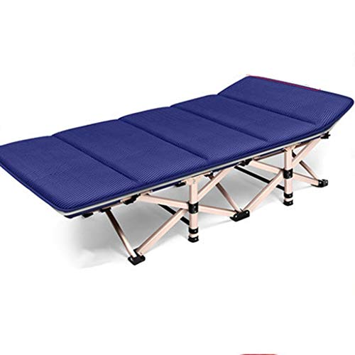 Jolly Cadre de lit d'appoint Pliant avec Matelas en Mousse Confortable, lit d'appoint pour Le Bureau de Bureau, lit de Maison pour Adulte, Siesta (Taille: 75 x 30 x 14 po) (Couleur : Bleu)