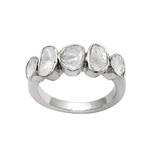 1.00 CTW Diamond Polki Ring, 925 Sterling Silver Platinum Plaqué Boho fait à la main Polki Diamond Ring Women Ring