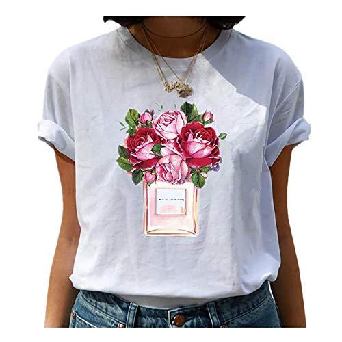 N\P Amigos T Shirt Verano Mujeres Manga Corta Ocio Casual Señoras Camisetas Mujer Ropa - - X-Large