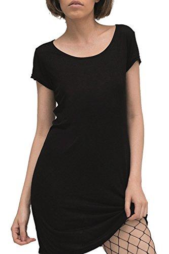 trueprodigy Casual Damen Marken T-Shirt Kleid einfarbig Basic Oberteil Cool Stylisch Rundhals Kurzarm Slim Fit langes Top für Frauen, Farben:Schwarz, Größe:L