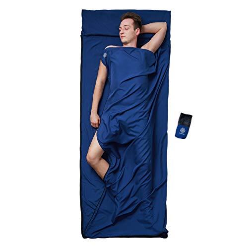 Bahidora 2 in 1 Hüttenschlafsack & Reisedecke mit hochwertigem YKK Reißverschluss. Schlafsack Inlett, Reiseschlafsack - Ultraleicht, geringes Packmaß und hygienisch