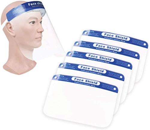 10 pcs Safety Transparent Face Cover Shield   Reusable & Breathable   Protect eyes and face   Light Weight, Clear Film & Comfortable Elastic Band