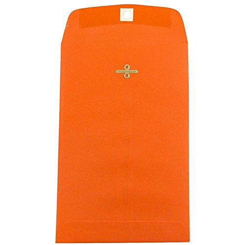 JAM PAPER 6 x 9 Open End Catalog Colored Envelopes with Clasp Closure - Orange Recycled - 10/Pack
