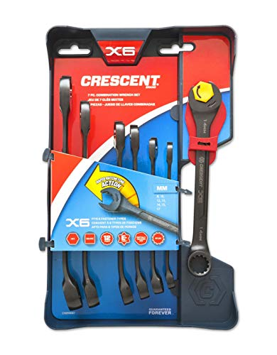 Crescent 7 Pc. X6 Black Oxide Spline Open End Ratcheting Combination Metric Wrench Set - CX6RWM7