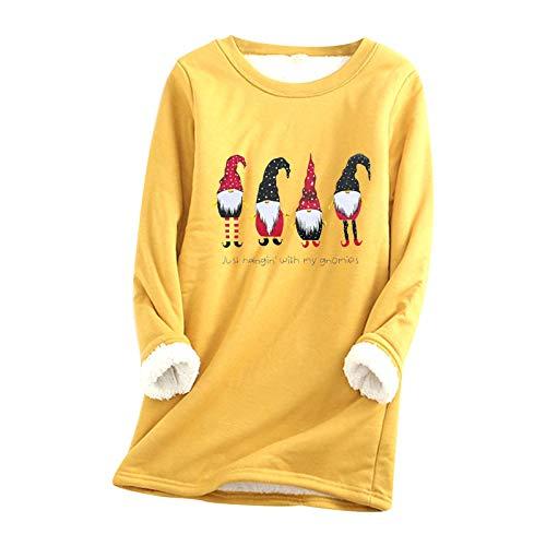 Lazzboy Store Sweatshirt Damen Dickes Fleece Weihnachten Weihnachtsmann...