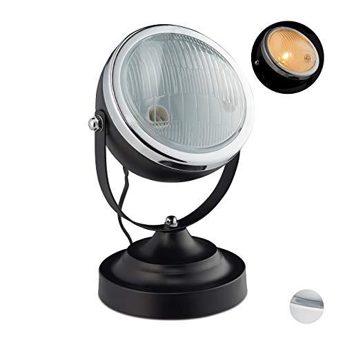 Relaxdays Tischlampe im Scheinwerfer-Look, Vintage-Retro Design, für Wohnzimmer & Loft, Metall, HxD: 26 x 19 cm, schwarz