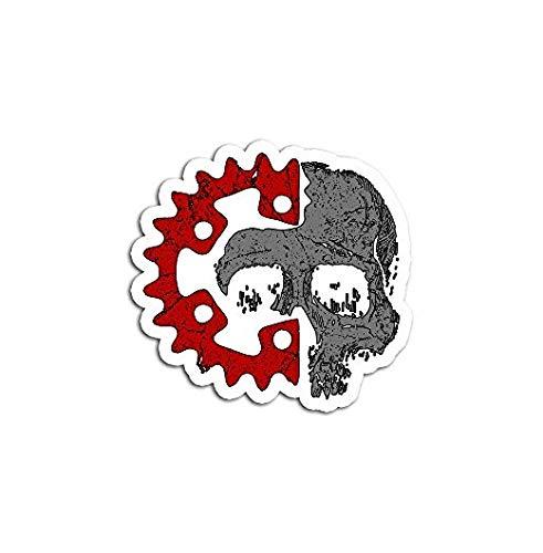 Skull Crankset Mountain Bike - Sticker Graphic - Auto, Wall, Laptop, Cell, Truck Sticker for Windows, Cars, Trucks