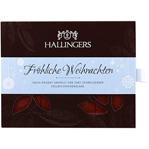 Hallingers Vollmilch-Schokolade mit Nuss-Nougat hand-geschöpft (90g) - Fröhliche Weihnachten (Tafel-Karton) - zu Weihnachten