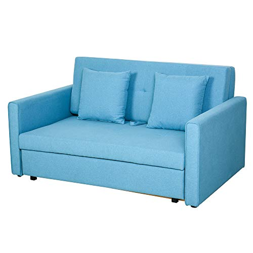 HOMCOM Two Seater Fabric Sofa Bed with Storage furniture for Livingroom Furniture Blue