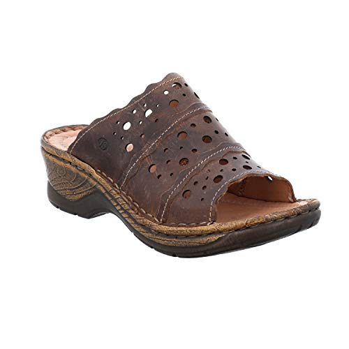 Josef Seibel Damen ClogsPantoletten Catalonia 43, Frauen Clogs, Women Woman Freizeit leger Slipper Slides Sandale sommerschuh,Brandy,42 EU / 8 UK