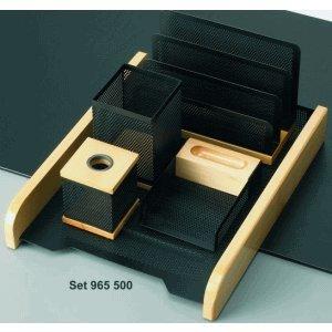 Rumold Schreibtisch-Set 5-teilig Holz natur/Metall schwarz