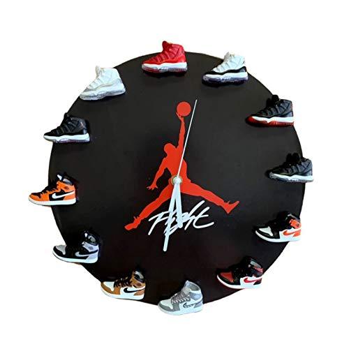 YFBB Reloj de pared Jordan11 de 30,48 cm con mini zapatillas 3D, AJ11, decoración elegante Air-Jordan11, ventilador deportivo para decoración del hogar, color negro