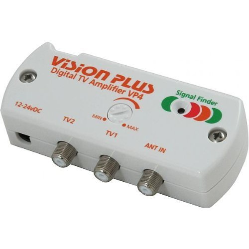 Vision Plus VP4 12v 2 Way Digital TV Amplifier Signal Distribution Booster with Built in Signal Finder and Variable Gain Ideal for Caravan, Motorhome, Boat